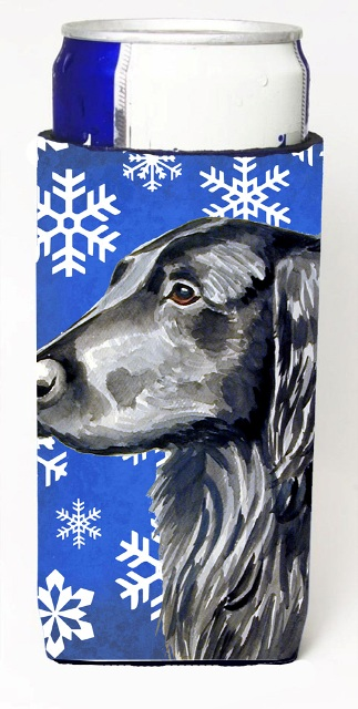 Carolines Treasures LH9276MUK Flat Coated Retriever Winter Snowflakes Holiday Michelob Ultra bottle sleeves For Slim Cans - 12 oz.