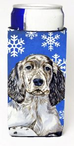 Carolines Treasures LH9277MUK English Setter Winter Snowflakes Holiday Michelob Ultra bottle sleeves For Slim Cans - 12 oz.