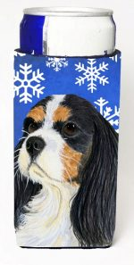 Carolines Treasures LH9279MUK Cavalier Spaniel Winter Snowflakes Holiday Michelob Ultra bottle sleeves For Slim Cans - 12 oz.