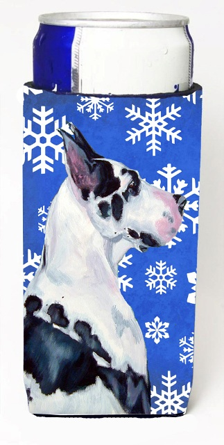 Carolines Treasures LH9281MUK Great Dane Winter Snowflakes Holiday Michelob Ultra bottle sleeves For Slim Cans - 12 oz.