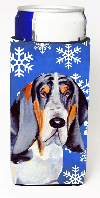Carolines Treasures LH9282MUK Basset Hound Winter Snowflakes Holiday Michelob Ultra bottle sleeves For Slim Cans - 12 oz.
