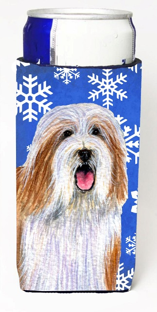 Carolines Treasures LH9285MUK Bearded Collie Winter Snowflakes Holiday Michelob Ultra bottle sleeves For Slim Cans - 12 oz.