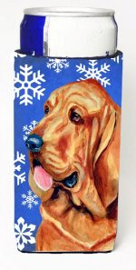 Carolines Treasures LH9286MUK Bloodhound Winter Snowflakes Holiday Michelob Ultra bottle sleeves For Slim Cans - 12 oz.