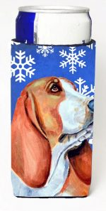 Carolines Treasures LH9287MUK Basset Hound Winter Snowflakes Holiday Michelob Ultra bottle sleeves For Slim Cans - 12 oz.