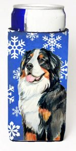 Carolines Treasures LH9289MUK Bernese Mountain Dog Winter Snowflakes Holiday Michelob Ultra bottle sleeves For Slim Cans - 12 oz.
