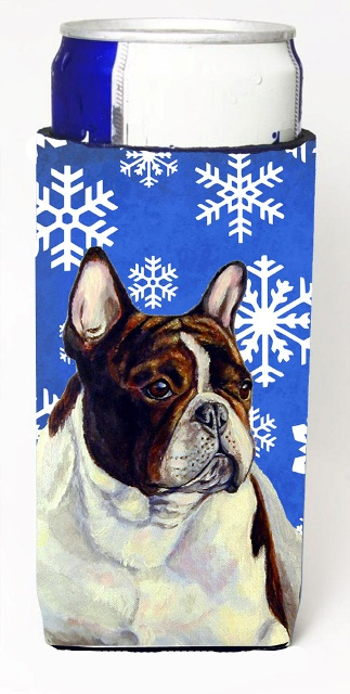 Carolines Treasures LH9292MUK French Bulldog Winter Snowflakes Holiday Michelob Ultra bottle sleeves For Slim Cans - 12 oz.