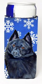 Carolines Treasures LH9294MUK Schipperke Winter Snowflakes Holiday Michelob Ultra bottle sleeves For Slim Cans - 12 oz.