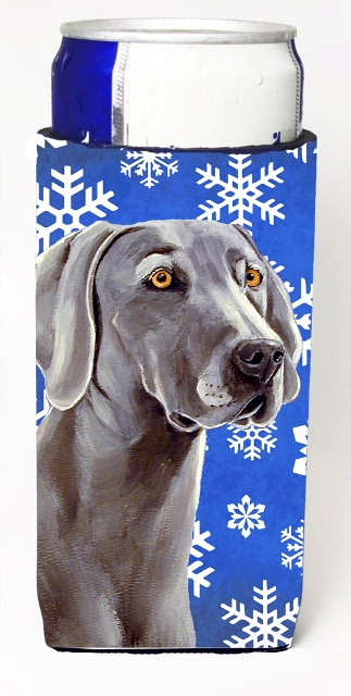 Carolines Treasures LH9296MUK Weimaraner Winter Snowflakes Holiday Michelob Ultra bottle sleeves For Slim Cans - 12 oz.