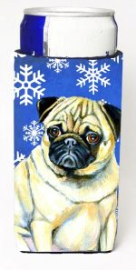 Carolines Treasures LH9297MUK Pug Winter Snowflakes Holiday Michelob Ultra bottle sleeves For Slim Cans - 12 oz.