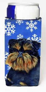 Carolines Treasures LH9298MUK Brussels Griffon Winter Snowflakes Holiday Michelob Ultra bottle sleeves For Slim Cans - 12 oz.