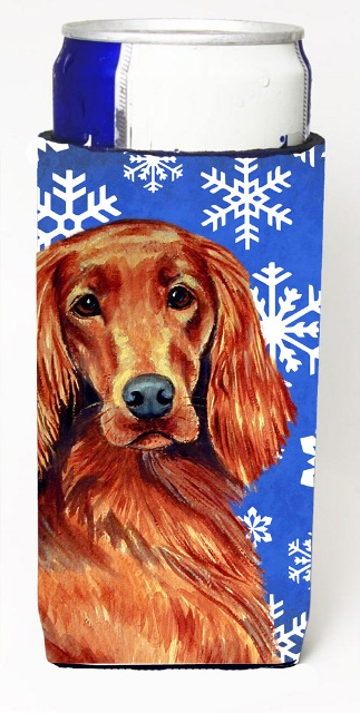 Carolines Treasures LH9299MUK Irish Setter Winter Snowflakes Holiday Michelob Ultra bottle sleeves For Slim Cans - 12 oz.