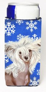 Carolines Treasures LH9302MUK Chinese Crested Winter Snowflakes Holiday Michelob Ultra bottle sleeves For Slim Cans - 12 oz.