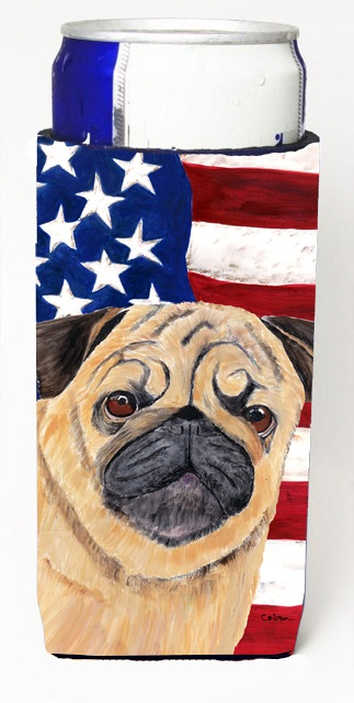 Carolines Treasures SC9006MUK Usa American Flag With Pug Michelob Ultra bottle sleeves For Slim Cans - 12 oz.