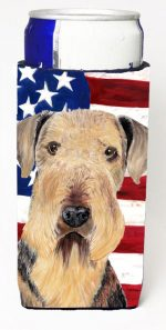 Carolines Treasures SC9007MUK Usa American Flag With Airedale Michelob Ultra bottle sleeves For Slim Cans - 12 oz.