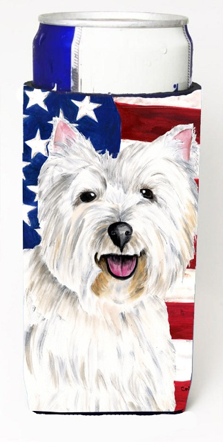 Carolines Treasures SC9008MUK Usa American Flag With Westie Michelob Ultra bottle sleeves For Slim Cans - 12 oz.