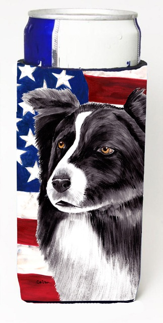 Carolines Treasures SC9009MUK Usa American Flag With Border Collie Michelob Ultra bottle sleeves For Slim Cans - 12 oz.