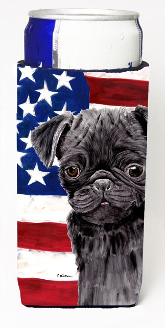 Carolines Treasures SC9011MUK Usa American Flag With Pug Michelob Ultra bottle sleeves For Slim Cans - 12 oz.