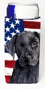 Carolines Treasures SC9012MUK Usa American Flag With Labrador Michelob Ultra bottle sleeves For Slim Cans - 12 oz.