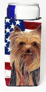 Carolines Treasures SC9013MUK Usa American Flag With Yorkie Michelob Ultra bottle sleeves For Slim Cans - 12 oz.