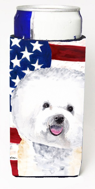 Carolines Treasures SC9014MUK Usa American Flag With Bichon Frise Michelob Ultra bottle sleeves For Slim Cans - 12 oz.