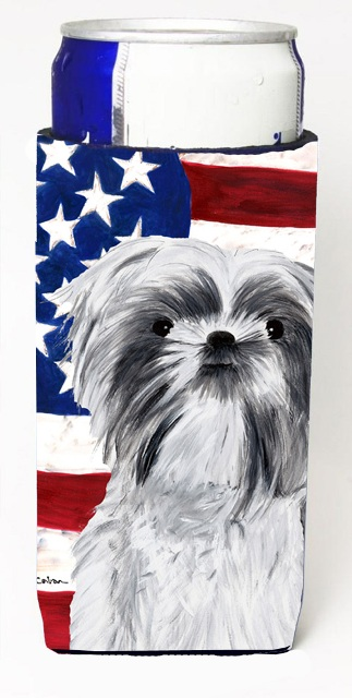 Carolines Treasures SC9015MUK Usa American Flag With Shih Tzu Michelob Ultra bottle sleeves For Slim Cans - 12 oz.