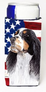 Carolines Treasures SC9016MUK Usa American Flag With Springer Spaniel Michelob Ultra bottle sleeves For Slim Cans - 12 oz.