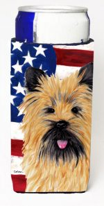 Carolines Treasures SC9017MUK Usa American Flag With Cairn Terrier Michelob Ultra bottle sleeves For Slim Cans - 12 oz.