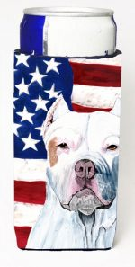 Carolines Treasures SC9026MUK Usa American Flag With Pit Bull Michelob Ultra bottle sleeves For Slim Cans - 12 oz.
