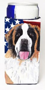 Carolines Treasures SC9027MUK Usa American Flag With Saint Bernard Michelob Ultra bottle sleeves For Slim Cans - 12 oz.