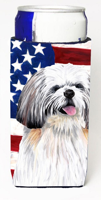 Carolines Treasures SC9028MUK Usa American Flag With Shih Tzu Michelob Ultra bottle sleeves For Slim Cans - 12 oz.