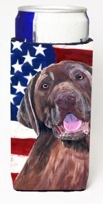 Carolines Treasures SC9029MUK Usa American Flag With Labrador Michelob Ultra bottle sleeves For Slim Cans - 12 oz.