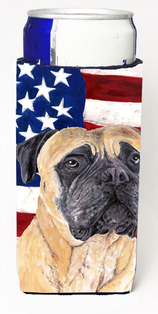 Carolines Treasures SC9031MUK Usa American Flag With Mastiff Michelob Ultra bottle sleeves For Slim Cans - 12 oz.