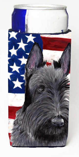 Carolines Treasures SC9032MUK Usa American Flag With Scottish Terrier Michelob Ultra bottle sleeves For Slim Cans - 12 oz.