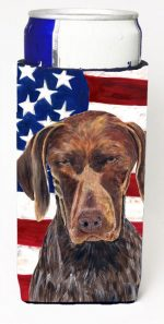 Carolines Treasures SC9034MUK Usa American Flag With German Shorthaired Pointer Michelob Ultra bottle sleeves For Slim Cans - 12 oz.