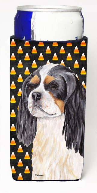 Carolines Treasures SC9192MUK Cavalier Spaniel Tricolor Candy Corn Halloween Portrait Michelob Ultra s For Slim Cans - 12 oz.