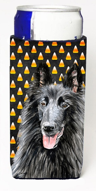 Carolines Treasures SC9196MUK Belgian Sheepdog Candy Corn Halloween Portrait Michelob Ultra s For Slim Cans - 12 oz.