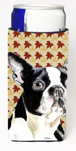 Carolines Treasures SC9200MUK Boston Terrier Fall Leaves Portrait Michelob Ultra s For Slim Cans - 12 oz.