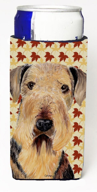 Carolines Treasures SC9213MUK Airedale Fall Leaves Portrait Michelob Ultra s For Slim Cans - 12 oz.
