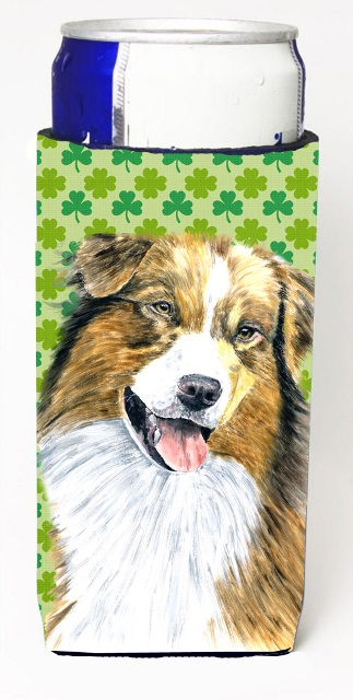 Carolines Treasures SC9317MUK Australian Shepherd St. Patricks Day Shamrock Michelob Ultra bottle sleeves For Slim Cans - 12 oz.