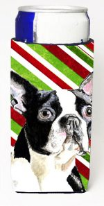 Carolines Treasures SC9320MUK Boston Terrier Candy Cane Holiday Christmas Michelob Ultra bottle sleeves For Slim Cans - 12 oz.