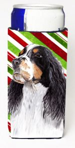 Carolines Treasures SC9321MUK Springer Spaniel Candy Cane Holiday Christmas Michelob Ultra bottle sleeves For Slim Cans - 12 oz.