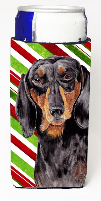 Carolines Treasures SC9323MUK Dachshund Candy Cane Holiday Christmas Michelob Ultra bottle sleeves For Slim Cans - 12 oz.