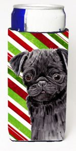 Carolines Treasures SC9326MUK Pug Candy Cane Holiday Christmas Michelob Ultra bottle sleeves For Slim Cans - 12 oz.