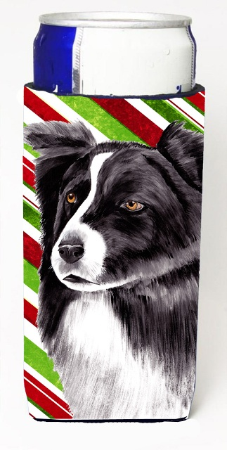 Carolines Treasures SC9327MUK Border Collie Candy Cane Holiday Christmas Michelob Ultra bottle sleeves For Slim Cans - 12 oz.