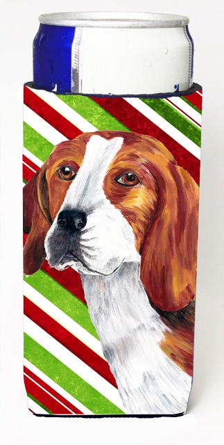 Carolines Treasures SC9329MUK Beagle Candy Cane Holiday Christmas Michelob Ultra bottle sleeves For Slim Cans - 12 oz.