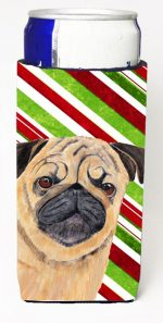 Carolines Treasures SC9331MUK Pug Candy Cane Holiday Christmas Michelob Ultra bottle sleeves For Slim Cans - 12 oz.