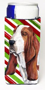 Carolines Treasures SC9332MUK Basset Hound Candy Cane Holiday Christmas Michelob Ultra bottle sleeves For Slim Cans - 12 oz.