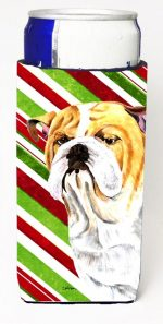Carolines Treasures SC9334MUK Bulldog English Candy Cane Holiday Christmas Michelob Ultra bottle sleeves For Slim Cans - 12 oz.