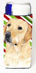 Carolines Treasures SC9336MUK Labrador Candy Cane Holiday Christmas Michelob Ultra bottle sleeves For Slim Cans - 12 oz.