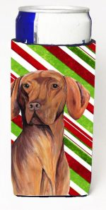 Carolines Treasures SC9338MUK Vizsla Candy Cane Holiday Christmas Michelob Ultra bottle sleeves For Slim Cans - 12 oz.
